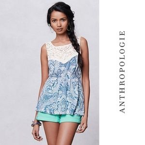 Anthropologie Deletta Blue Gather Shell Top Small